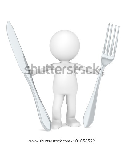 3D Little Human Character the Chef holding a fork and a knife . - stock photo