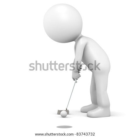3D little human character The Golfer making a putt. People series.