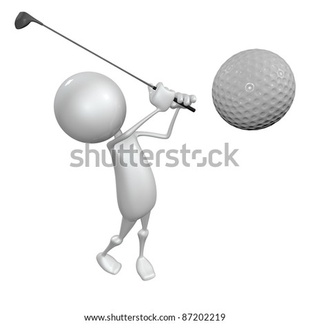 3D little human character The Golfer making a putt. People series. - stock photo