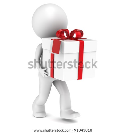 3D little human character with a Gift Box. Red Tag. People series. - stock photo