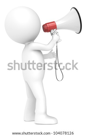 3d little human character with a Megaphone. Red and white. Side view.  People series. - stock photo