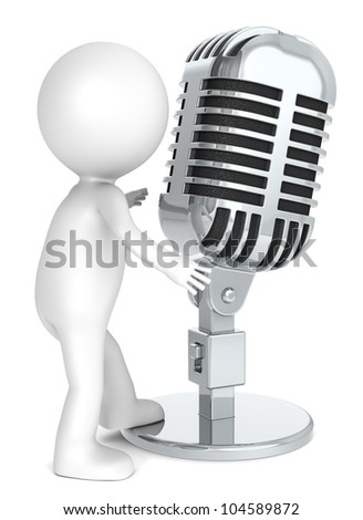 3D little human character with a Retro Microphone. Metal. People series.