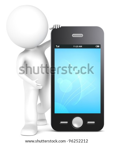 3D little human character with a Smart Phone. Blue Light Screen. People series. - stock photo