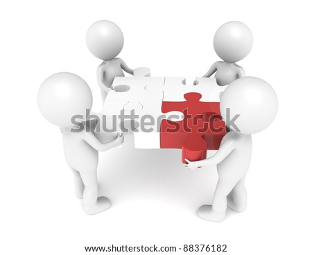 3d little human character X4, The Team, each one holding a piece of the jigsaw puzzle. Red. - stock photo