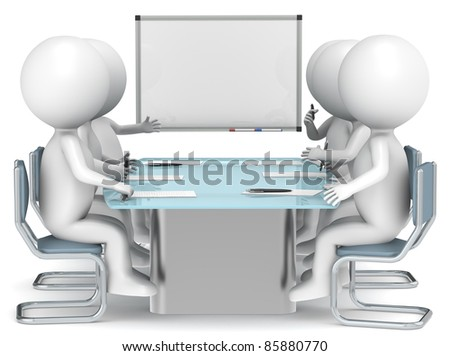 3D little human characters X6 and a Whiteboard. Business People series. - stock photo