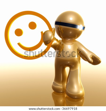 3d little icon with smiley symbol - stock photo
