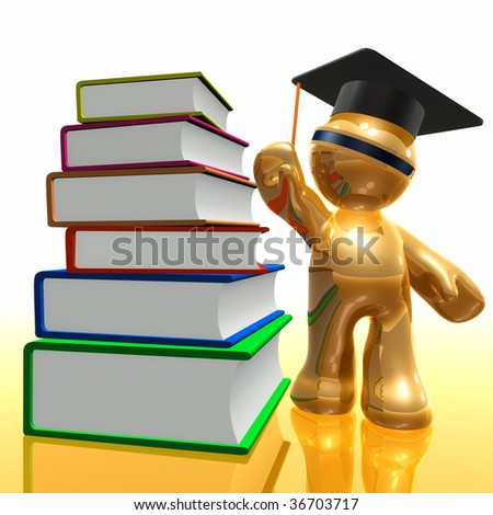 3d little icon with thick books from library - stock photo