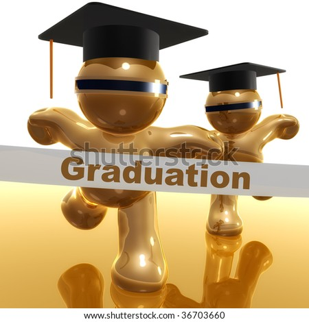 3d little icons running toward graduation day finish line - stock photo