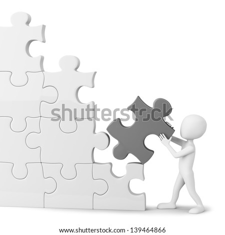3D little man collects puzzle. 3d image. On a white background.