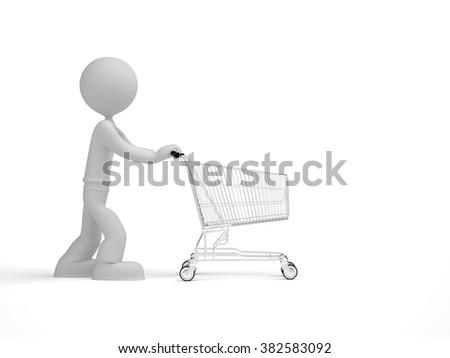 3d little man push shopping cart - stock photo