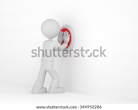 3D little man push the red button - stock photo