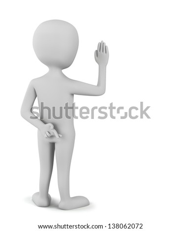 3D little man swears fingers crossed. 3D image. On a white background.