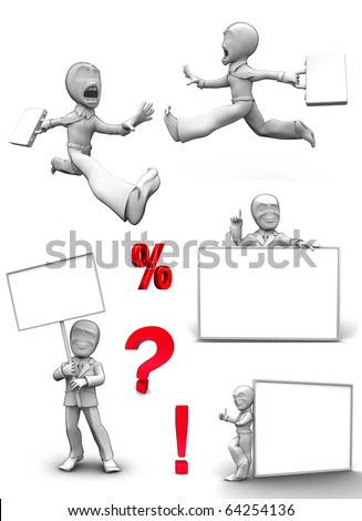 3D little person with blank board that you can write anything - stock photo