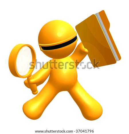 3d little yellow icon searching file folder