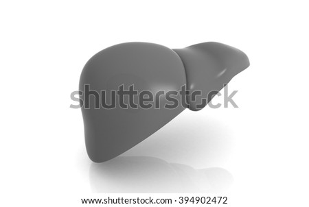 3D Liver on white background - stock photo