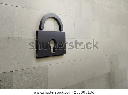 3D Lock on the brick wall background - stock photo