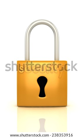 3d lock with word security render isolated on white - stock photo