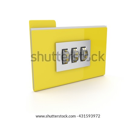 3d locked folder isolated on white background. Data protection concept.  - stock photo