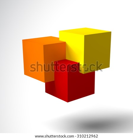 3D logo with bright colored cubes. Red, orange and yellow - stock photo