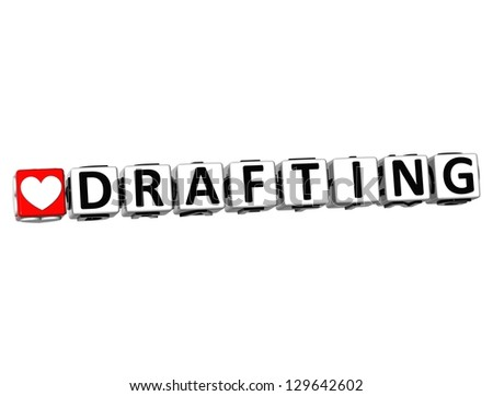 3D Love Drafting Button Click Here Block Text over white background - stock photo