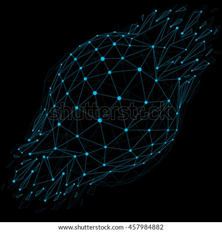 3d low poly object with blue connected lines and dots, geometric wireframe shape with refractions. Asymmetric perspective shattered form. Luminescent effect, communication technology.