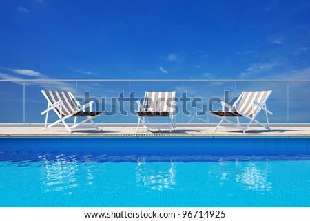 3d Luxury swimming pool - stock photo