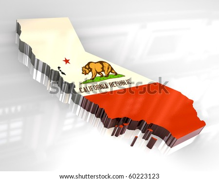 3d made - Flag map og California