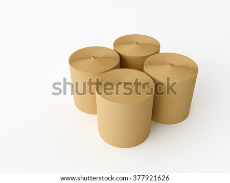 3d made Spools of paper on a white background - stock photo