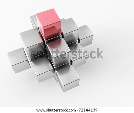 3d maded metal cubes on a white background - stock photo