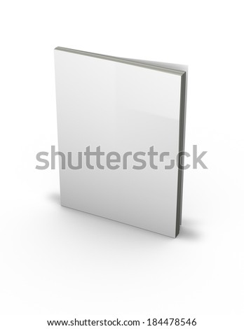 3d magazine with empty cover, sanding on floor, isolated on white - stock photo