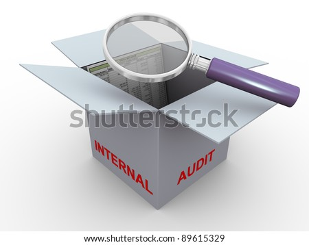 3d magnifier glass hover over trial balance in the box. Concept of internal audit - stock photo