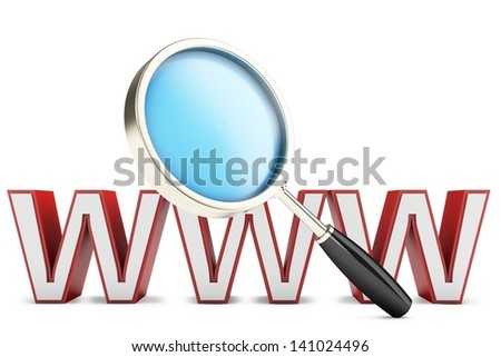 3d magnify glass, internet search concept on white background