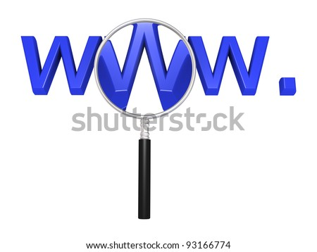 3d magnifying glass in front of web initials