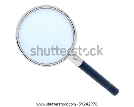 3D magnifying glass - isolated over a white background