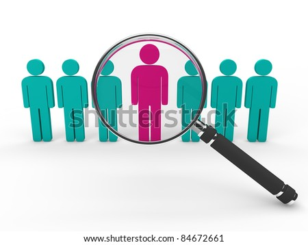 3d magnifying glass team leadership pink green - stock photo