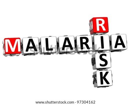 3D Malaria Risk Crossword text on white background - stock photo