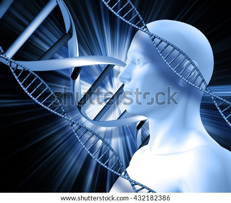 3D male figure with DNA strands on abstract background - stock photo