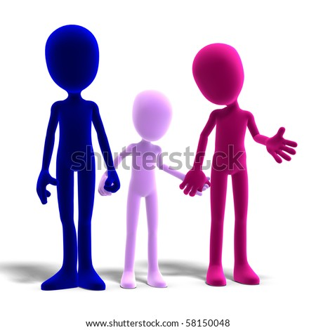 3d male icon toon characters as a familiy. 3D rendering with clipping path and shadow over white - stock photo