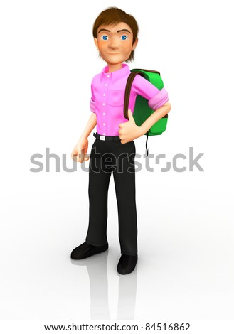 3D Male student carrying a backpack- isolated over a white background