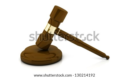 3d mallet of justice on white background - stock photo