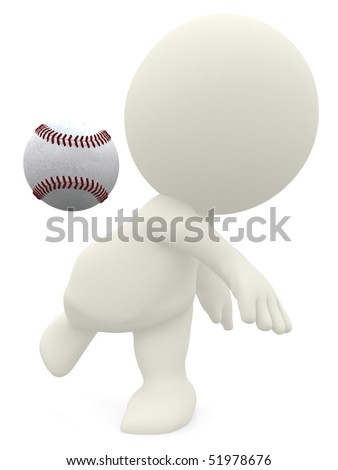 3D man about to throw a baseball ball isolated over a white background - stock photo