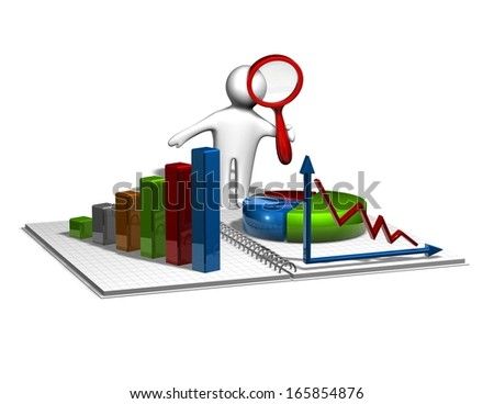 3d man analyzing graphs, business, annual, financial report concept with colorful charts and diagrams - stock photo