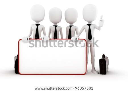 3d man and a big blank placard - stock photo