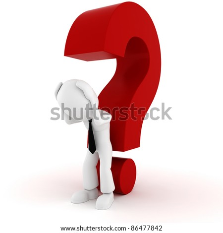 3d man and a big red question mark - stock photo