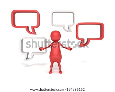 3d  man and blank speech bubbles on white background. dialogue concept 3d render illustration - stock photo