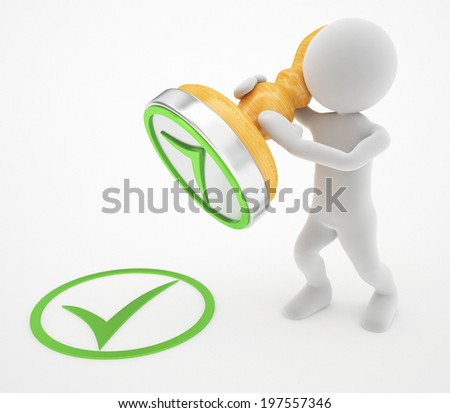 3d man and correct stamp - stock photo