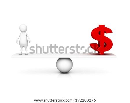 3d man and dollar currency symbol on balance scale. business concept 3d render illustration - stock photo