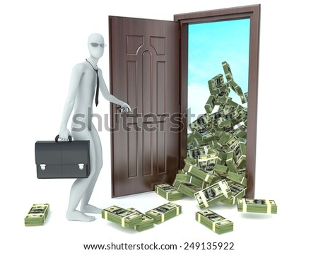 3d man and door with money. Concept of wealth - stock photo