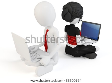 3d man and girl with laptops on white background - stock photo