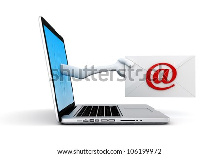 3d man and laptop online mail concept - stock photo
